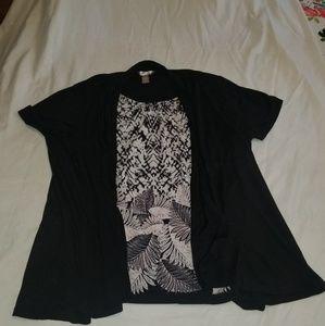 Faux 2 piece Black n White top
